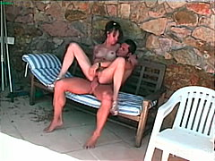 outdoor, big cock, high heels, cum shot, couple, brunette, caucasian, anal sex, blowjob, pool