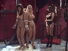 lesbian, lezdom, slave, bondage, latex, muff diving, gloves, bdsm, caning, corset
