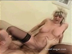 stockings, pussy, shaved, older, doggystyle, moaning, granny, boobs, cougar