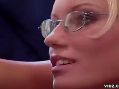 glasses, blowjob, oral, office, blonde, hardcore