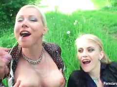 hardcore, cumshot, outdoors, threesome, blowjob, pissing