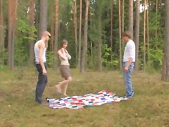 threesome, teen, forest, russian