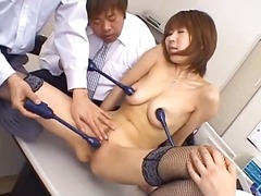 asian, office, busty, sucking, fingering, blowjob, vibrator