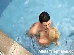 pool, blowjob, shemale, blonde