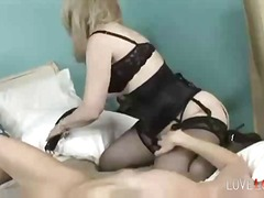 stocking, stockings, lick, lesbian, pussy, milf, blonde, lingerie