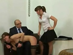 humiliation, wanking, foot fetish, squirt, fishnet, smoking, flashing, uniform, heels, spank