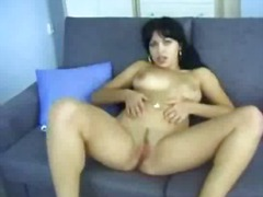 brunette, homemade, erotic, tits, rubbing, couch, pussy
