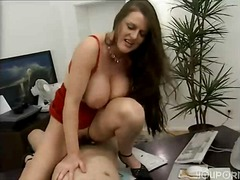 doggy, style, office, milf, big, tits, brunette, threesome