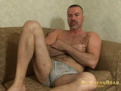 jerking, cock, big, solo, bear, masturbation