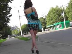 ass, teen, skirt, mini, alone, brunette, slim