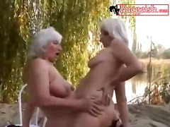 beach, mature, lesbian, lesbos, outdoors, blonde, fingering